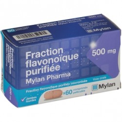 Fraction flavonoique purifée mylan 500mg 60 comprimés