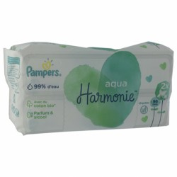 PAMPERS LINGETTES HARMONIE AQUA LOT DE 2