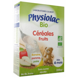 PHYSIOLAC CEREALES FRUITS 200G CERTBIO